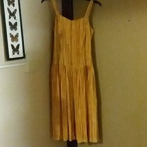 Vintage Handmade Yellow Satin Dress.One of a kind.